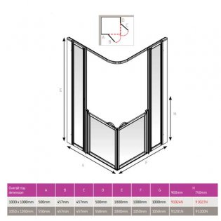 AKW Option BF 750 Shower Screen, 1000mm x 1000mm, Non-Handed