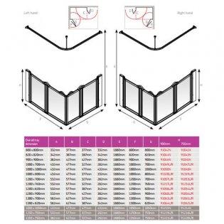 AKW Option E 900 Shower Screen, 1000mm x 1000mm, Non-Handed
