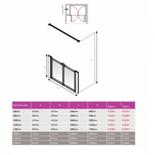 AKW Option M 750 Shower Screen, 1250mm Wide, Non-Handed