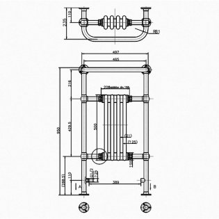 Arcade Bruton Traditional Radiator Heated Towel Rail 950mm H x 497mm W - White/Nickel