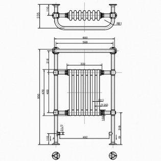Arcade Lansdowne Traditional Radiator Heated Towel Rail 950mm H x 600mm W - White/Nickel