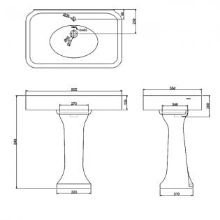 Arcade Basin 900mm Wide with Full Pedestal - 1 Tap Hole