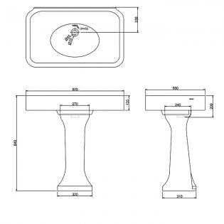 Arcade Basin 900mm Wide with Full Pedestal - 0 Tap Hole