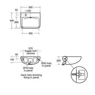 Armitage Shanks Contour 21 Plus Basin with Back Outlet 500mm Wide - 1 LH Tap Hole