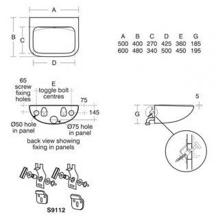 Armitage Shanks Contour 21 Back Outlet Washbasin 600mm Wide - 0 Tap Hole