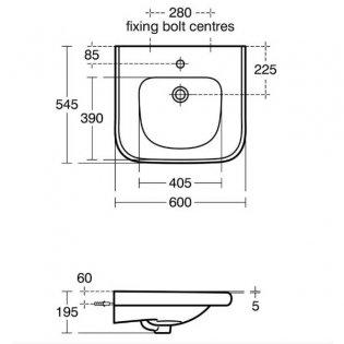 Armitage Shanks Contour 21 Accessible Basin 600mm Wide - 0 Tap Hole