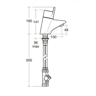 Armitage Shanks Contour 21 Single Lever Thermostatic Basin Mixer Tap - Chrome