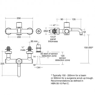 Armitage Shanks Markwik 21 Plus Thermostatic Panel Mounted Basin Mixer with Sensor Detachable Spout
