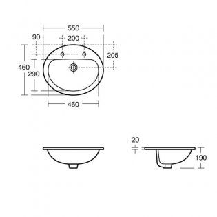 Armitage Shanks Orbit 21 Countertop Basin without Overflow 550mm Wide - 2 Tap Hole