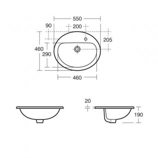 Armitage Shanks Orbit 21 Countertop Basin without Overflow 550mm Wide - 1 Tap Hole, Right Hand