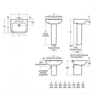 Armitage Shanks Portman 21 Basin with Full Pedestal 500mm Wide - 1 Tap hole