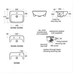 Armitage Shanks Profile 21 Semi Countertop Basin No Overflow 500mm Wide - 2 Tap Hole