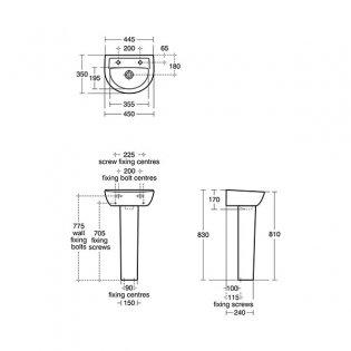 Armitage Shanks Sandringham 21 Basin & Full Pedestal 450mm Wide 2 Tap Hole