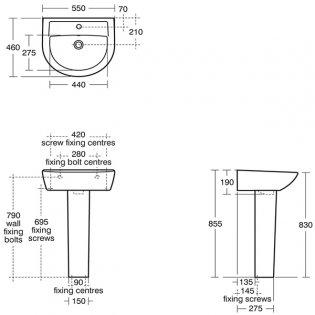 Armitage Shanks Sandringham 21 Basin & Full Pedestal 550mm Wide 1 Tap Hole