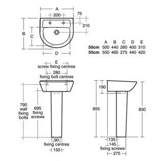Armitage Shanks Sandringham 21 Basin & Full Pedestal 550mm Wide 2 Tap Hole