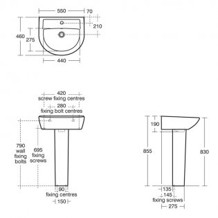 Armitage Shanks Sandringham 21 Basin with Full Pedestal 550mm Wide - 1 Tap Hole