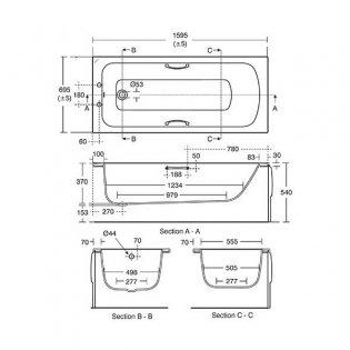 Armitage Shanks Sandringham 21 1600mm x 700mm Bath with Handgrips - 2 Tap Hole