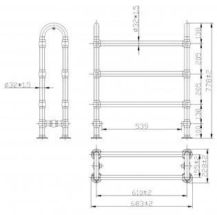Bayswater Benjamin Floor Standing Towel Rail 762mm High x 685mm Wide Chrome