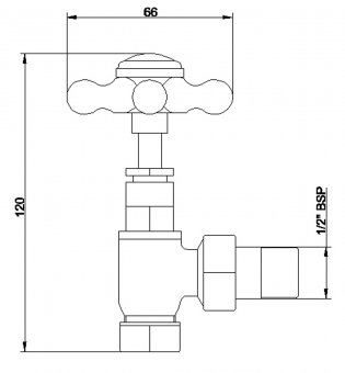 Bayswater Crosshead Angled Radiator Valves Pair Chrome