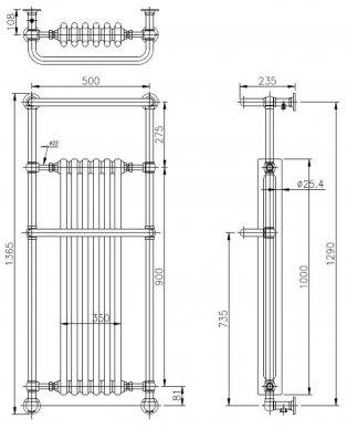 Bayswater Franklyn Radiator Towel Rail 1362mm High x 575mm Wide White/Chrome