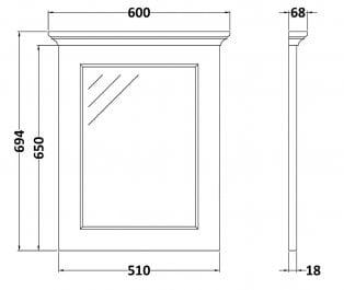 Bayswater Plummett Grey Bathroom Mirror 700mm High x 600mm Wide