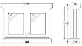 Bayswater Stiffkey Blue Bathroom Cabinet 750mm High x 1050mm Wide