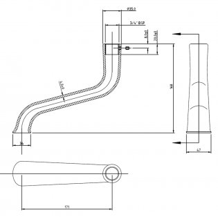 Bayswater Traditional Bath Spout (for Triple Exposed Shower Valve)