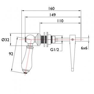 Bristan Traditional Toilet Cistern Lever - Chrome/White