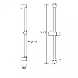 Bristan Casino Shower Riser Rail with Fixed Position Bracket 650mm H - Chrome