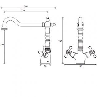 Bristan Colonial Easyfit Kitchen Sink Mixer Tap - Chrome