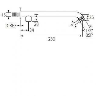Bristan Commercial Exposed Shower Arm for Rigid Riser, 250mm, Chrome