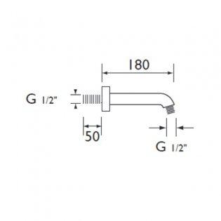 Bristan Modern Wall Mounted Shower Arm, 180mm Length, Chrome