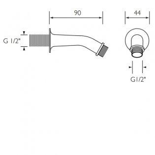 Bristan Concealed Shower Arm, 90mm, Chrome
