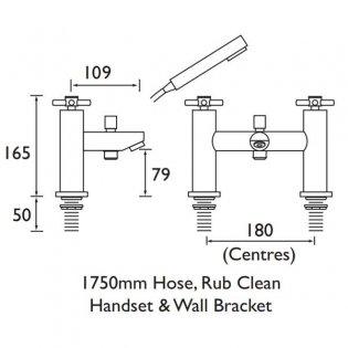 Bristan Decade Bath Shower Mixer Tap Pillar Mounted - Chrome