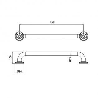 Bristan 450mm Aluminium Grab Rail, DocM White