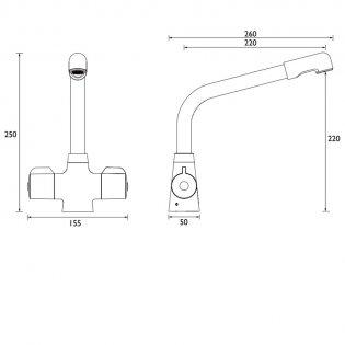 Bristan Manhattan EasyFit Mono Kitchen Sink Mixer Tap, Dual Handle, Mocca