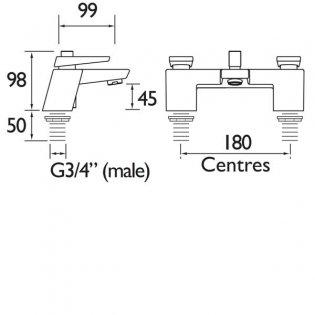Bristan Metallix Sail Bath Filler Tap - Graphite Glisten