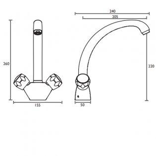Bristan Montreal EasyFIt Mono Kitchen Sink Mixer Tap, Dual Handle, Beige