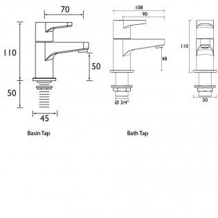 Bristan Quest Basin Taps and Bath Taps, Chrome