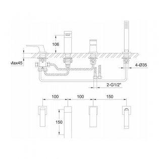 Bristan Sail 4-Hole Bath Shower Mixer Tap, Deck Mounted, Chrome