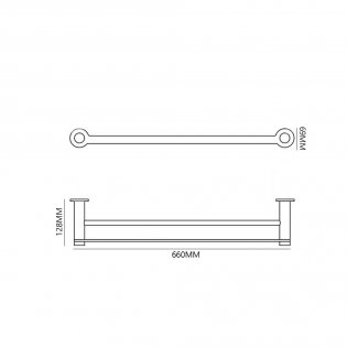 Bristan Solo Double Brass Towel Rail, Chrome Plated