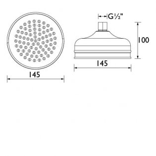 Bristan Traditional Stainless Steel Fixed Shower Head 145mm - Gold