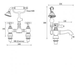 Bristan Trinity 2 Bath Shower Mixer Tap Deck Mounted - Chrome