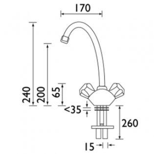 Bristan Value Club Budget Mono Kitchen Sink Mixer Tap, Dual Handle, White