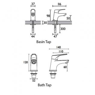 Bristan Vantage Basin Taps and Bath Taps, Chrome