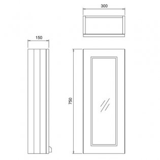 Burlington 30 Fitted 1-Door Mirror Wall Cabinet Unit 300mm Wide - Classic Grey