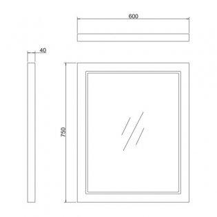 Burlington 60 Fitted Framed Bathroom Mirror, 750mm High x 600mm Wide, Matt White