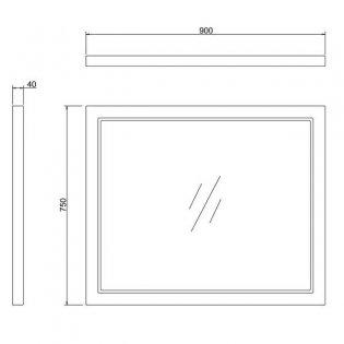Burlington 90 Fitted Framed Bathroom Mirror 750mm High x 900mm Wide - Classic Grey