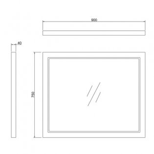 Burlington 90 Fitted Framed Bathroom Mirror, 750mm High x 900mm Wide, Matt White