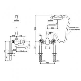 Burlington Kensington Regent Thermostatic Bath Shower Mixer Tap, Pillar Mounted, Chrome